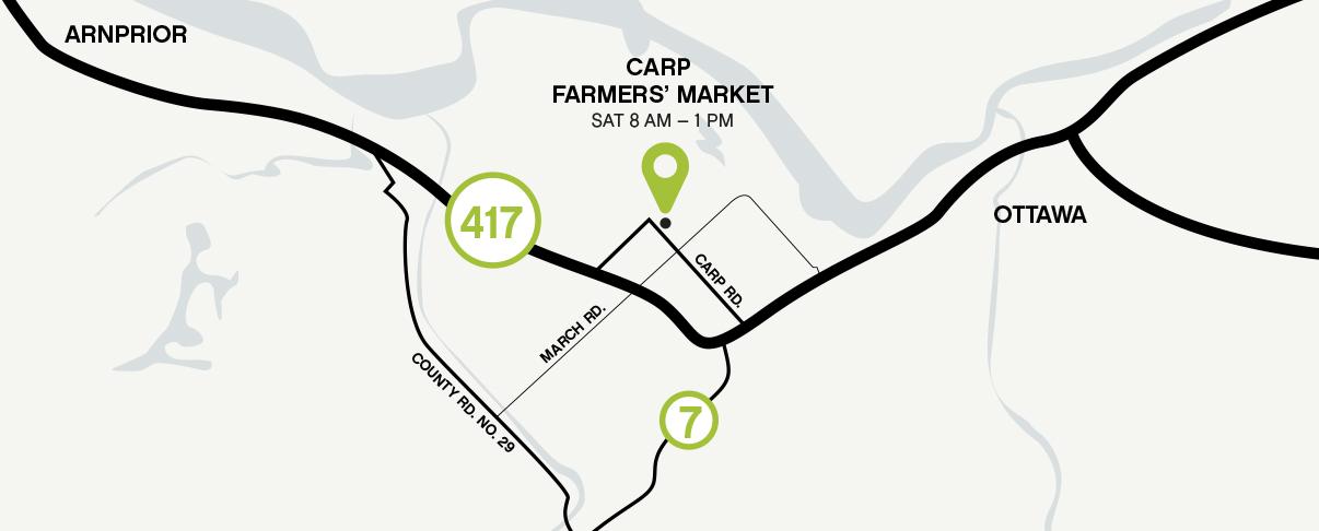 Map of Carp Farmers' Market where Terramor Farm can be found on Saturdays.